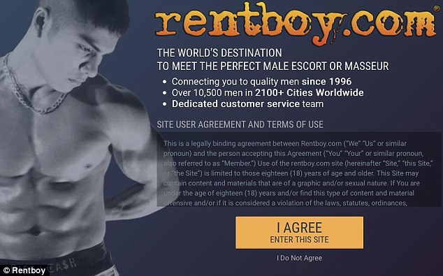 Gone away: Rentboy.com, the site that provided paid profiles of male escorts to potential clients, was shut down by Federal authorities in New York City on August 25
